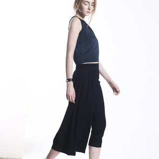 Navy Asymmetric Capri-Pants