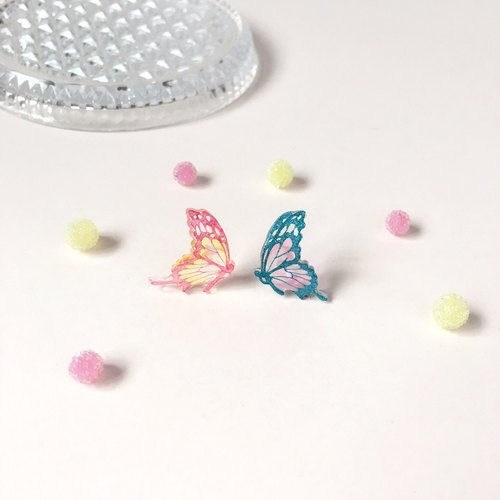 *Haku‧Neko* Romantic Pink and Blue colour hand painted butterfly earrings ear clip (one pair of different colors)