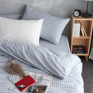 Natural washed quilt cover bed bag pillowcase set - light blue grid x blue