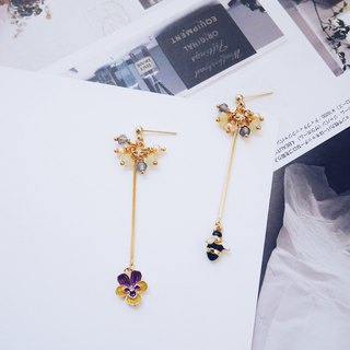 Spring shoots - spring natural stone pansy and bees decorated earrings
