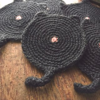 Retrieve the initial move back braid cat coaster (black monolithic) / flax weaving / handmade coasters handmade〗 〖crazy hopscotch