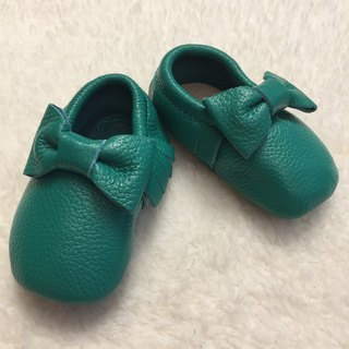 SanBelle Baby Fringed Moccasin Shoes ★Lether★0-18m Green