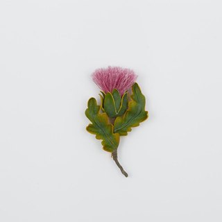 Thistle brooch brooch plant hand made fabric cotton and linen design