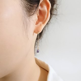 Iolite Faceted Rondelles 14K GF Thin Chain Dangle Earrings | Lavender Purple