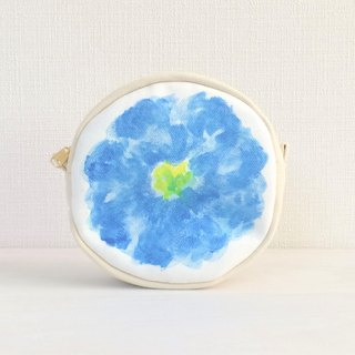 Bloom Flower Circle Pouch Floral Pattern Blue A