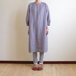 Daily hand-made suit gray purple bubble sleeve straight dress linen