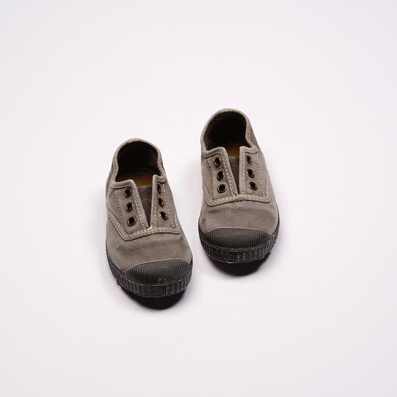 西班牙國民帆布鞋 CIENTA U70777 170 淺灰色 黑底 洗舊布料 童鞋