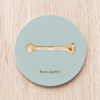 Bone appétit Appetite Wide Open Bone Ceramic Coaster