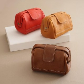 """RENÉE"" small doctor bag mouth gold package modeling Cosmetic / admission package / debris bag vegetable tanned leather carving / vegetable tanned leather / brown vegetable tanned leather"