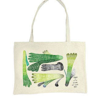 Green Finger Tote bag green toe sided Tote