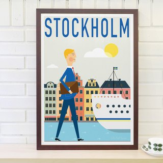 Nordic retro minimalist poster Stockholm's original customizable paintings without frame