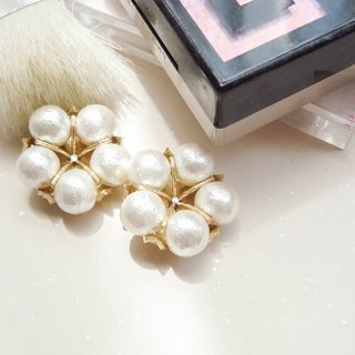 New product revision ~ pearl cotton earrings gold cotton pearl earrings pre-order chiching chess blue design handmade jewelry
