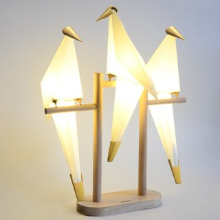 Creative Personality Paper Crane Lamp Bedside Bird Light Wood Base (Three Birds) (Pre-order)