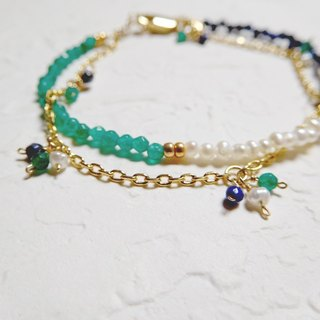 Mini three-color double gem drape texture bracelet