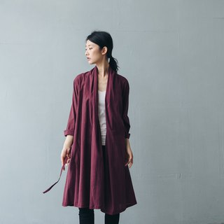 Cardigan strap length blouse - Burgundy