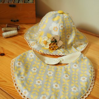 Handmade baby/ kid hat with hair clip and bib gift set