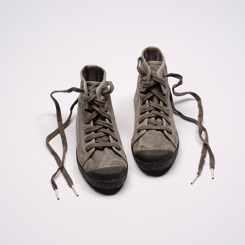 西班牙帆布鞋 CIENTA U61777 34 水泥灰 黑底 洗舊布料 童鞋 高筒