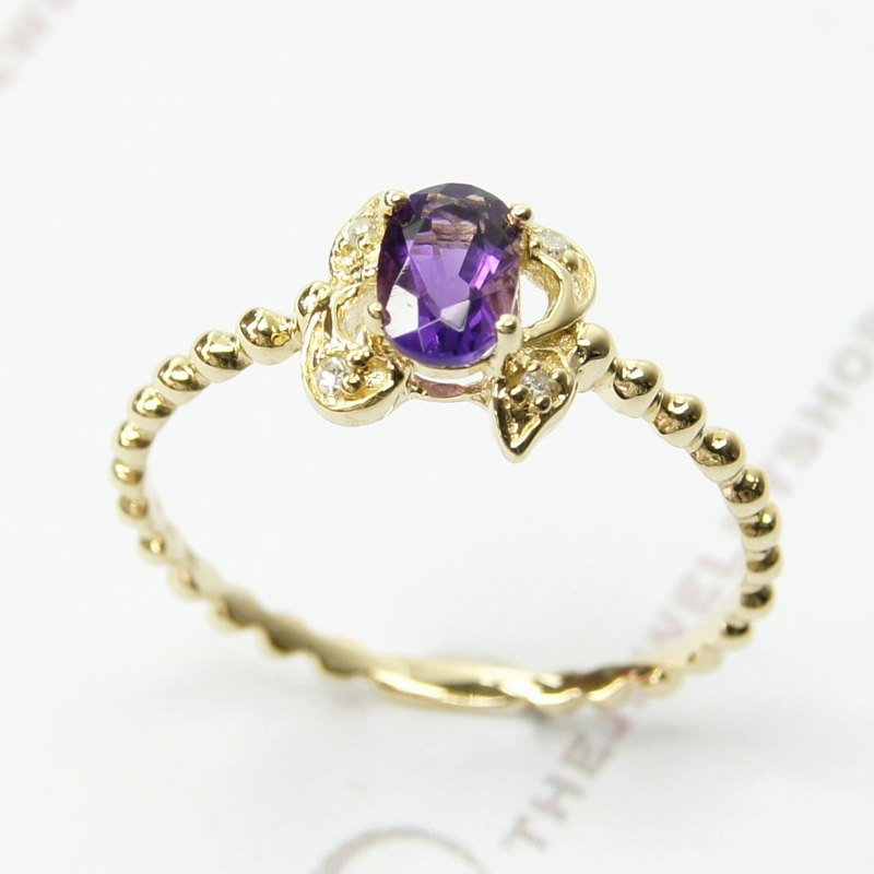 14K Yellow gold Oval amethyst with diamond Ring / Birthstone