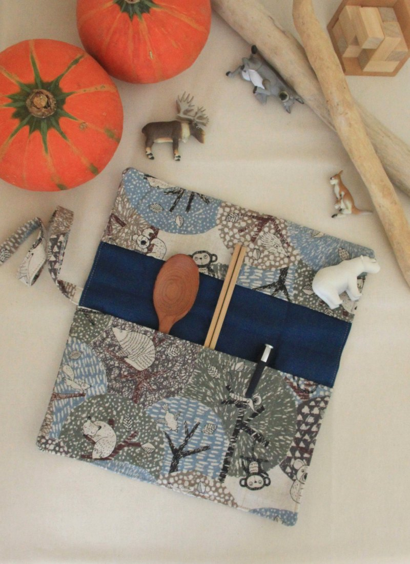 Weimom s Micro-Chong cloth - forest animals - pencil case, chopsticks sets, green tableware bags, cloth rolls, Christmas gifts Made in Taiwan - hand made good