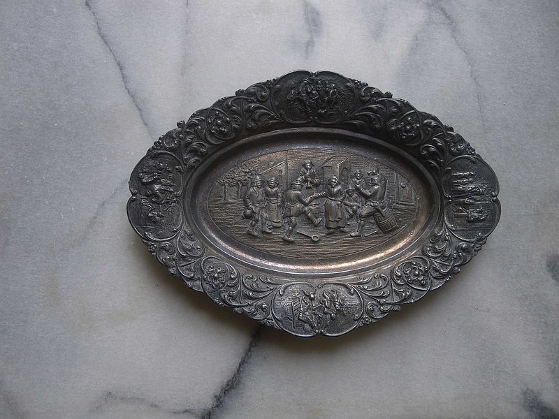 [OLD-TIME] Early European embossed landscape decoration tin plate