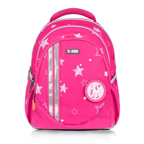 TigerFamily Elf Lightweight Backpack + Stationery Bag - Pink Stars (3rd to 6th Grade)