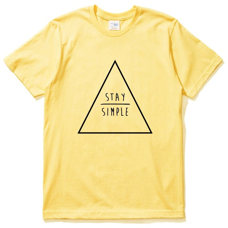 STAY SIMPLE Triangle short-sleeved T-shirt yellow to keep simple triangle geometric design own brand trendy round Wenqing Hipster