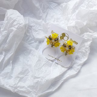 Yellow flower beaded freshwater pearls earrings