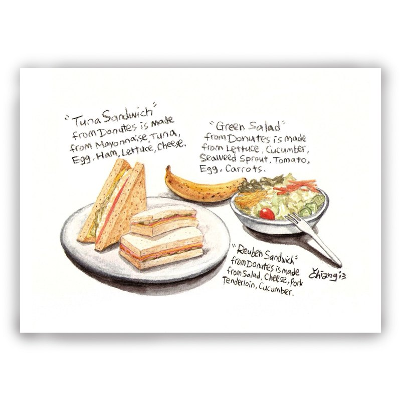 Hand-painted illustrations Multipoint Card / Card / Postcard / Illustration Card - Sandwich Sandwich Bread Salad Salad Banana Lunch Food