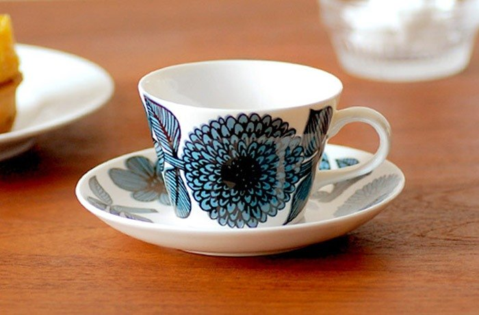 Gustavsberg Basket Aster Coffee Cup Plate Set