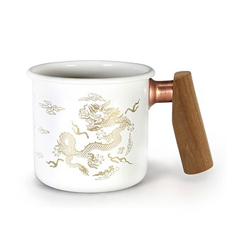 Wooden handle cup 400ml Qianlong cup white