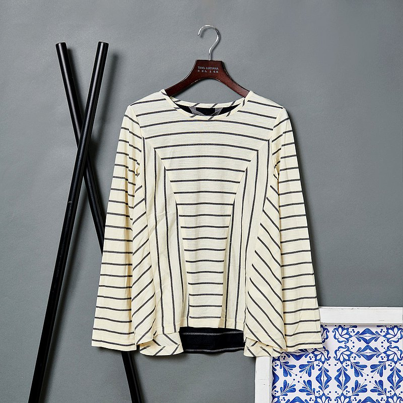Philosophical Dislocation Cut Striped Thin Wool Top