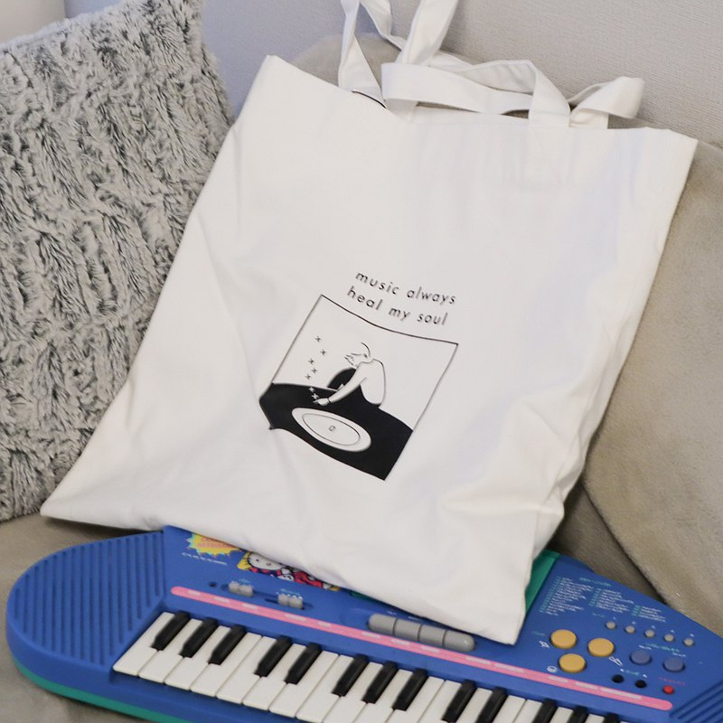 Tote bag - music always heal my soul (white)