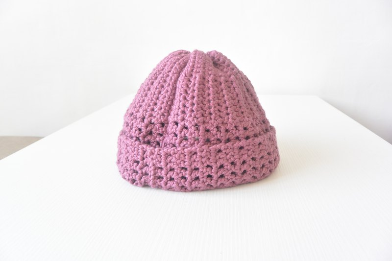 Handmade knitting wool hat reflexed - Peach
