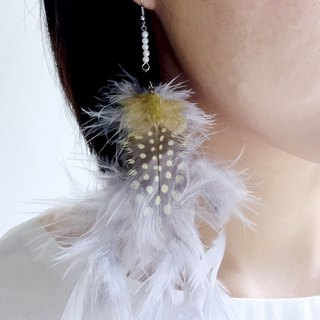 Fog early morning - light gray and yellow feather earrings ear hook