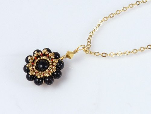 Black onyx flower necklace, chic jewelry, black chalcedony, gift, 150-338