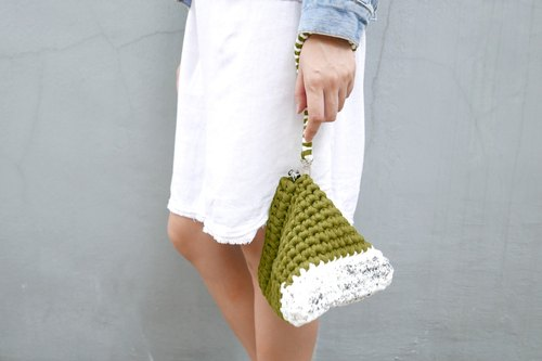 Duo Color Triangle Handbag, crochet, knit, handmade (Inked / Olive)