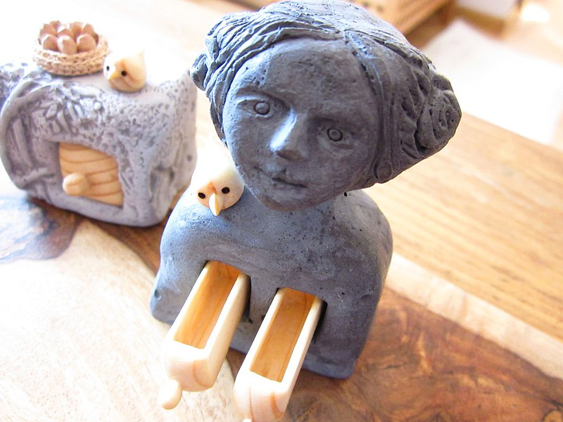 Concrete sculpture, Concrete home decoration, Concrete and wood carving, Woman s