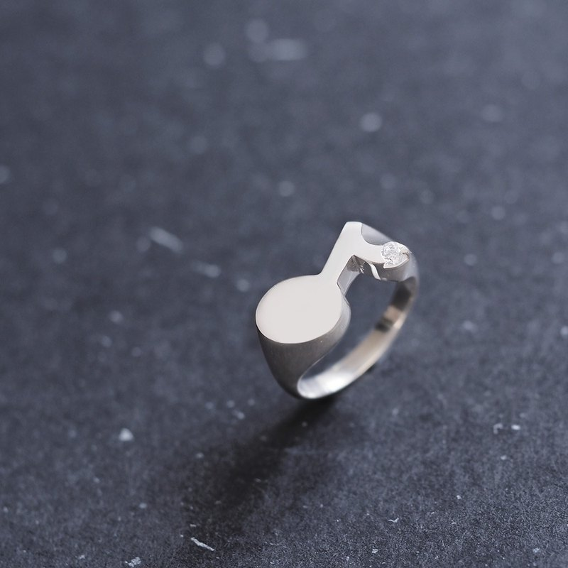 8th note ring silver 925