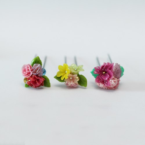 Pamycarie spring and summer handmade pink flowers resin clay Fa hairpin