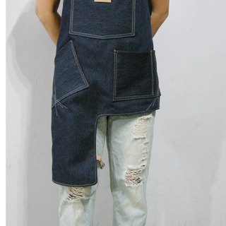 Cross leather belt denim apron (denim dark blue dyeing) __made as zuo zuo hand leather belt apron