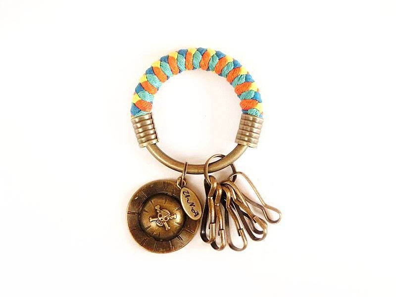 [Na UNA- excellent hand-made] key ring (small) 5.3CM bright orange + yellow + light blue + green + Ruff lake sailing hat hand-woven wax rope hoop customization