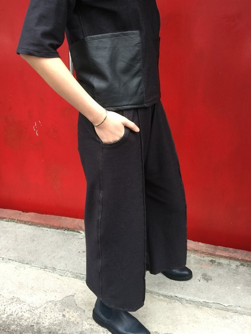 [New] black denim pants knit Wide Mouth