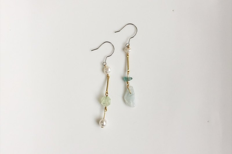 Mosh secret series brass pearl natural stone asymmetrical earrings