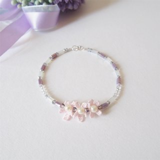 """KeepitPetite"" temperament three flowers • pink purple tube beads • bracelet bracelet • gift"
