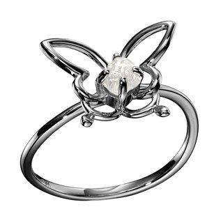 Butterfly Ring, Filigree Ring, Bug Jewelry, Natural Diamond Ring, Raw Stone Ring