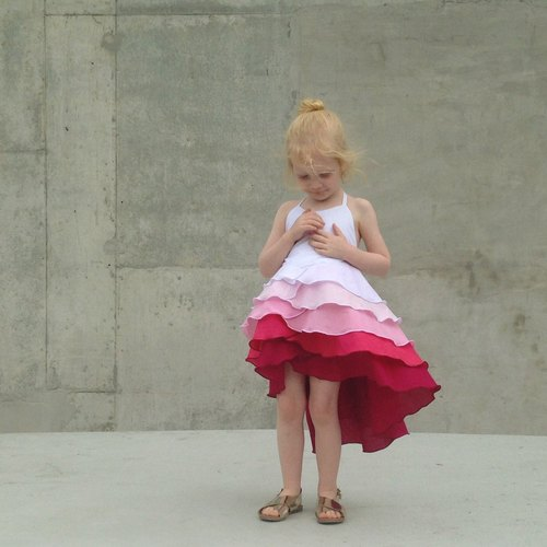 Girls Birthday Party Summer Flamenco Dress in Pink Ombré 6 - 10 Years