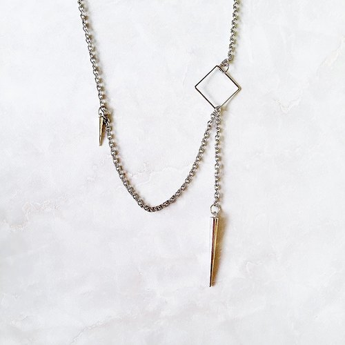 :: :: Jane Yue Pangke series of minimalist punk rivet geometry individuality lariat necklace / :: Minimalist PUNK Collection :: Rhodium Plated Minimalist Punk Geometric Spike Stainless Steel Chain Lariat Necklace Y Necklace