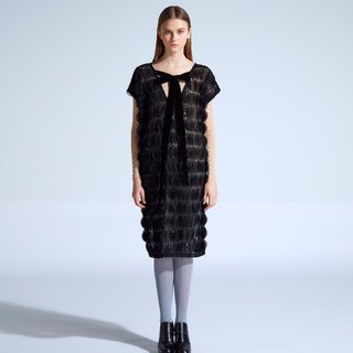 moi non plus Emily Bow Dress - Black - Indian fabrics