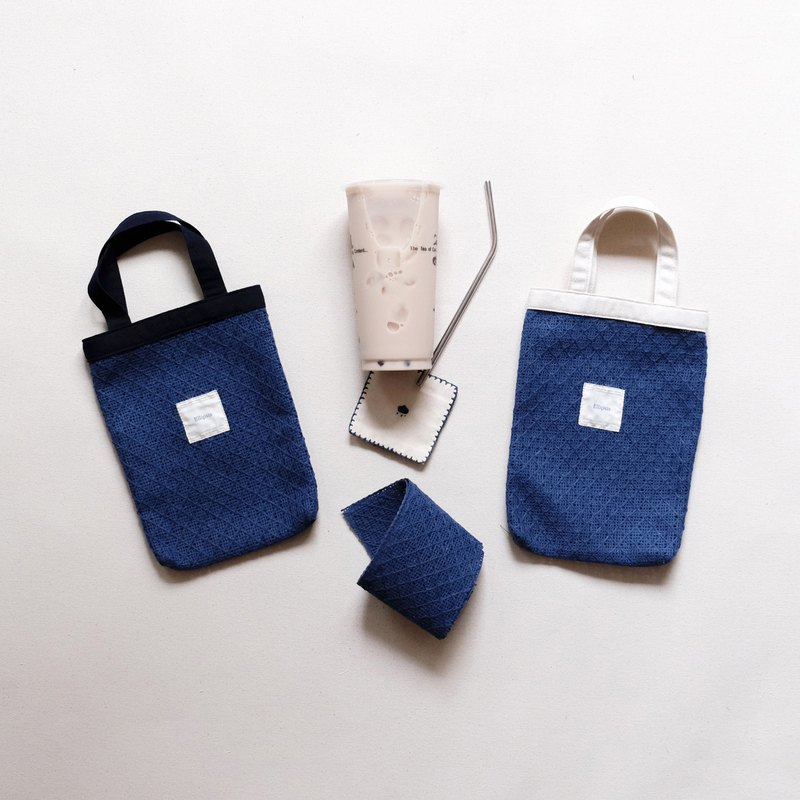 Blue linen woven eco-friendly beverage bag