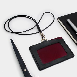 RENEW - Horizontal ID card holder, card holder black + wine red vegetable tanned leather hand-sewn